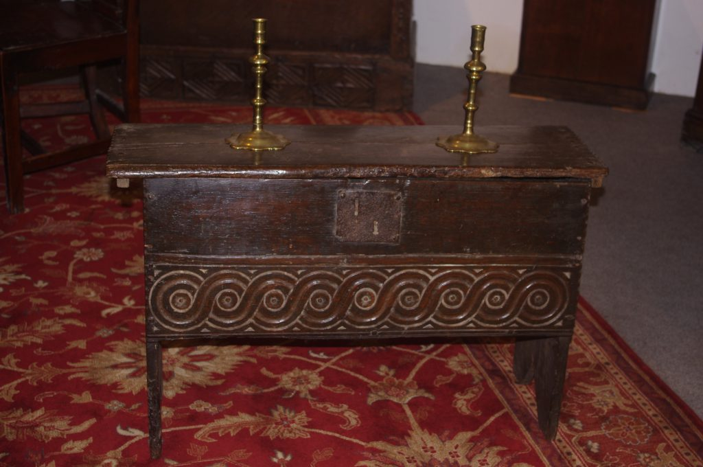 Early 17th century boarded coffer