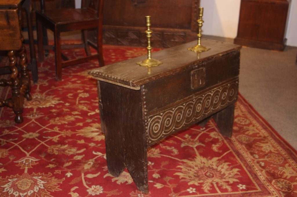 early period and antique oak James I six plank coffer in oak